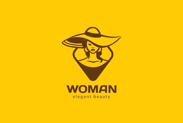 帽子のロゴベクトルビンテージアイコンの女性。