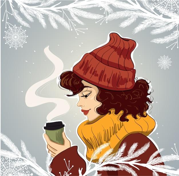 一杯のコーヒーのイラストと帽子の女性