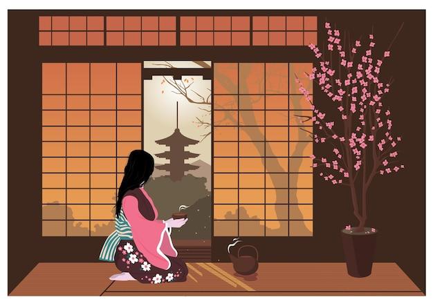 着物姿の女性が日本の伝統的な茶道を行います。寺院を見下ろす部屋のインテリア。カラーベクトルフラット漫画イラスト