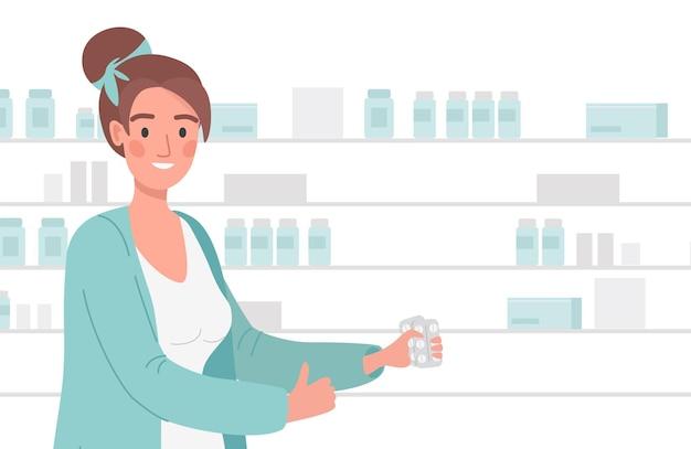 Женщина в лабораторном халате, держа таблетки в блистерной упаковке