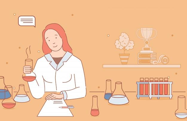 Женщина в халате делая анализ химика, изучая иллюстрацию плана шаржа химии.