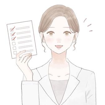 チェックリストと白衣の女性。白い背景に。