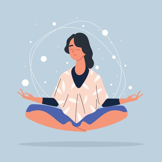Женщина в позе медитации