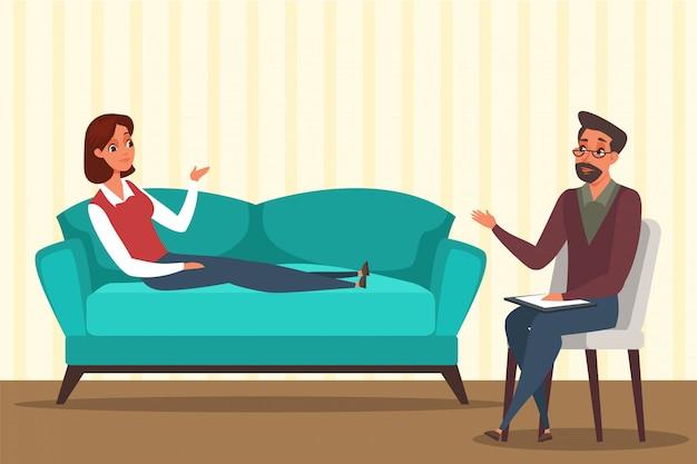 心理学者のオフィスのイラスト、精神科医と話している女性の漫画のキャラクターの女性。心理療法士の部屋でソファーに横になっている女性