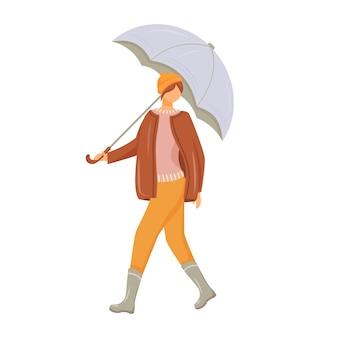 Женщина в пуловере и куртке плоского цвета безликий персонаж. идущая кавказская дама в резиновых сапогах. дождливая погода. женщина с зонтиком в руке изолированных иллюстрация шаржа на белом фоне