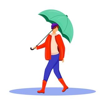 Женщина в пуловере и красной куртке с плоским дизайном цветного безликого персонажа