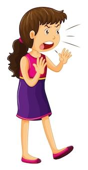 紫色のドレスを着て叫んでいる女性