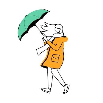 レインコートフラット輪郭イラストの女性。風の強い天気。白い背景の上の傘孤立漫画アウトライン文字を持つ女性。スカーフの簡単な描画で歩く女性