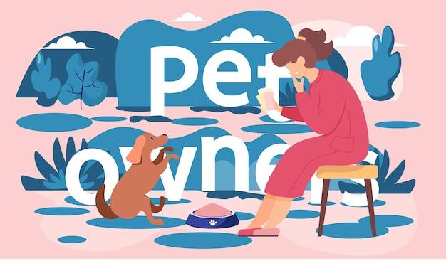 갈색 개를보고 벤치에 앉아 빨간 드레스에 여자. 공원의 여성은 저녁에 애완 동물과 함께 쉬고 있으며 사랑하는 강아지에게 앉으라는 명령을 가르칩니다. 강아지와 함께 꿈꾸는 로맨틱 소녀 프리미엄 벡터