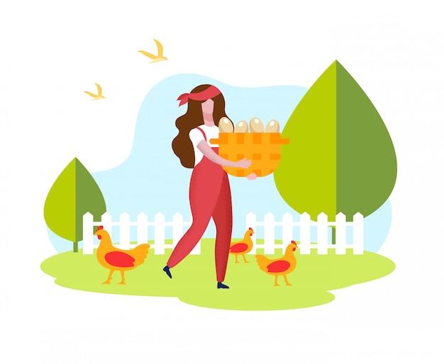 養鶏場で卵と赤いオーバーオールの女性。