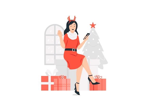 크리스마스 개념 그림에서 전화 온라인 쇼핑을 들고 순록 모자에있는 여자