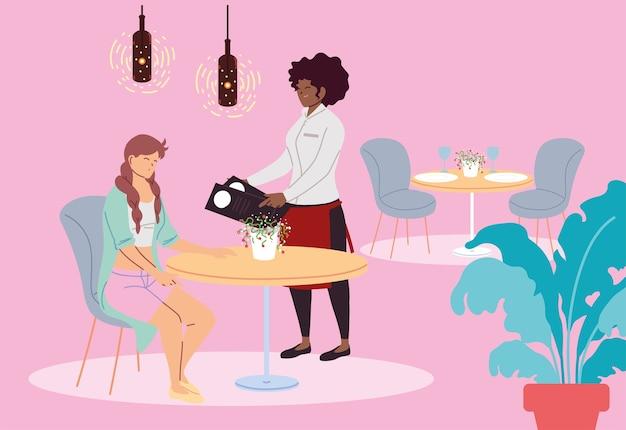 レストランとウェイトレスのイラストデザインを取っている女性