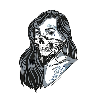 Женщина в страшной маске черепа с татуировками чикано и круглыми серьгами в винтажном монохромном стиле изолировала векторные иллюстрации