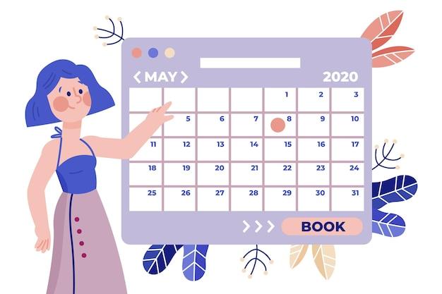 スカートと整理されたカレンダーの女性