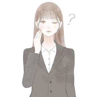 疑いを持っているスーツの女性。白い背景に。