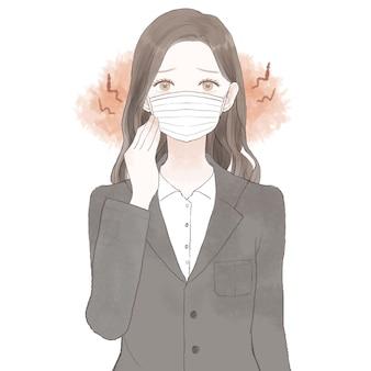 マスクを着用することによって引き起こされる摩擦と炎症に苦しんでいるスーツの女性。白い背景に。