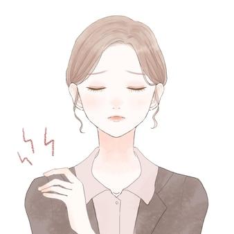 어깨 결림으로 고통받는 정장 차림의 여성. 흰색 배경에. 귀엽고 심플한 아트 스타일.