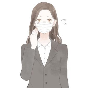 スーツを着た女性がマスクを着用して困っています。白い背景に。
