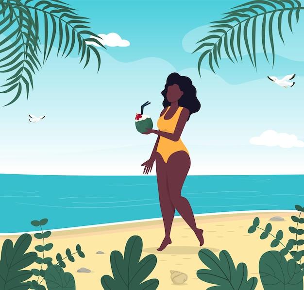 トロピカルビーチで水着の夏休みの女性ブルーシーアイランドリゾート夏休みのコンセプトビキニ旅行の女の子熱帯の島の楽園ヤシの葉海の波の海辺