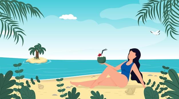 열 대 해변에서 수영복 여름 휴가에 여자 푸른 바다 섬 리조트 여름 휴가 개념.