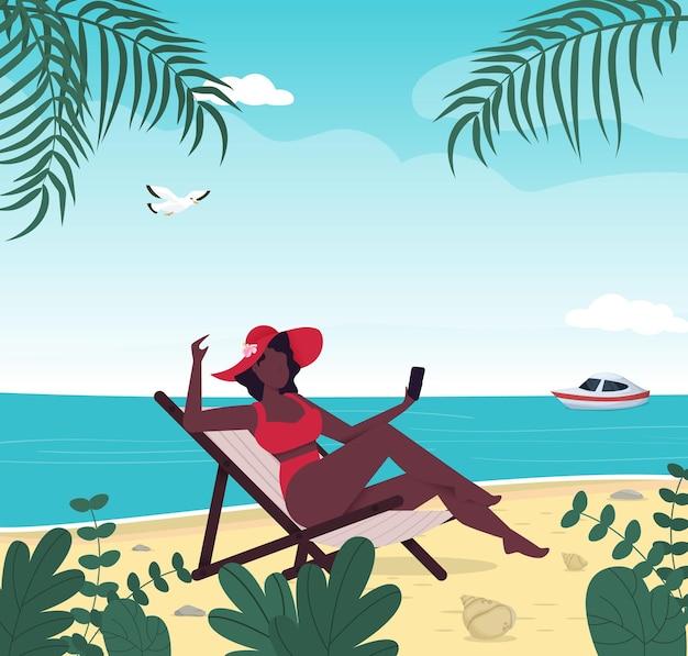 熱帯のビーチで水着の夏休みの女性ブルーシーアイランドリゾート夏休み。女性は自分撮りをします