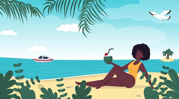 열 대 해변에서 수영복 여름 휴가에 여자입니다.