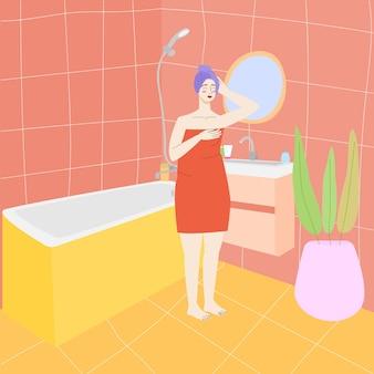 욕실 욕실 인테리어 재고 벡터 일러스트 레이 션에 수건에 욕실 여자에 여자