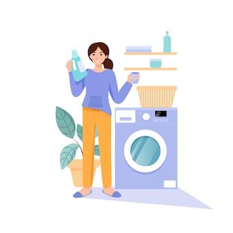 화장실에 있는 여자는 세탁을 위해 얼마나 많은 세제를 추가할지 생각합니다. 평면 벡터 일러스트 레이 션