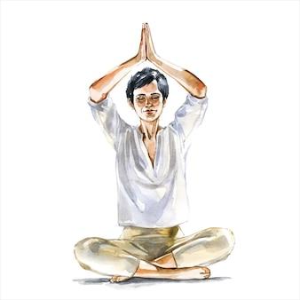瞑想中に蓮華座にいる女性