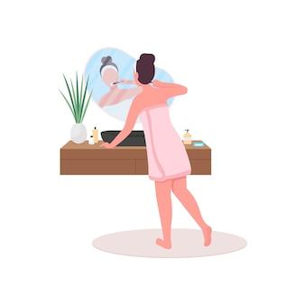 Женщина в полотенце, моющая зубы, плоская цветная иллюстрация