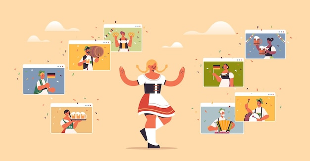 화상 통화 중 웹 브라우저 창에서 친구와 가상 회의를 갖는 옥토버 페스트 축제 파티 소녀를 축하하는 전통 옷을 입은 여자
