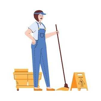 手にモップで制服清掃サービスの女性イラスト