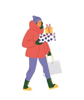 크리스마스 선물 상자 벡터 삽화를 들고 겨울 옷을 입은 여자. 화이트에 격리.