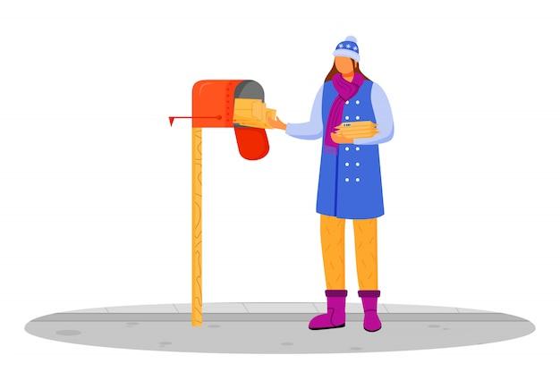 겨울 옷에 여자는 포스트 컬러 일러스트를받습니다. 우편함에서 소포를 가져 오는 중입니다. 배달 서비스. 흰색 바탕에 우편함 만화 캐릭터에서 lettters를 복용
