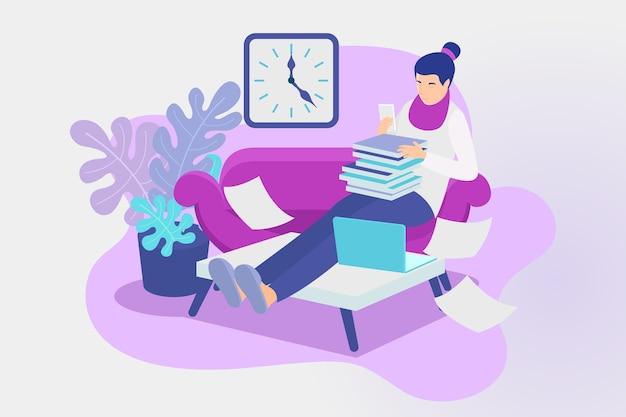 Woman indoors postpone concept