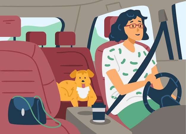 안전 벨트와 함께 운전하는 차 안에 여자 고정 평면 벡터 일러스트 레이 션
