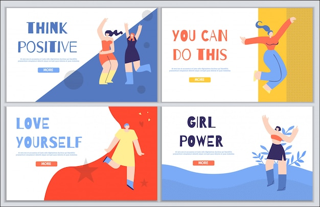 Woman inspirational landing page set in flat style