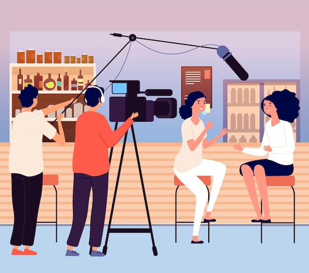 Woman interview in bar. vlog or bloggers, video content for social media. videographer and journalist, girls talking vector illustration. broadcast cartoon record and broadcasting by journalist