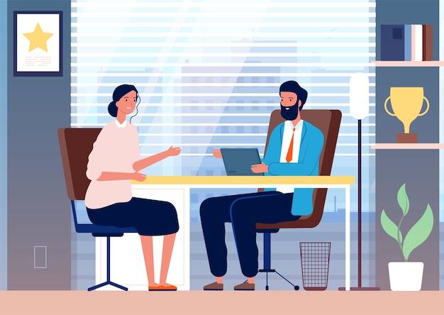 여자 인터뷰. 사무실 보스 앉아 문자에 여성 비즈니스 여자 고용 모집. 사무실과 직원 여성의 일러스트 보스