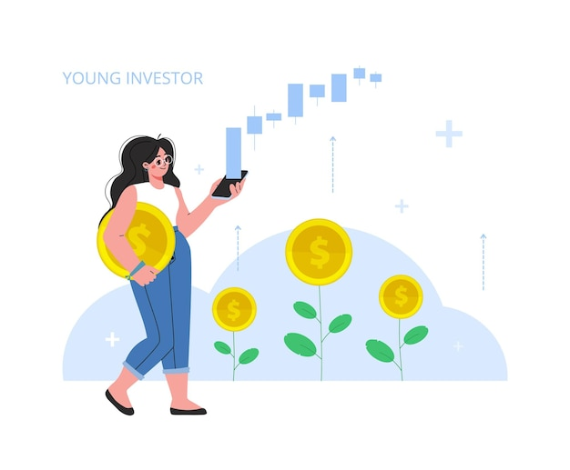 The woman invest in stock market income money rising rate profit young generation