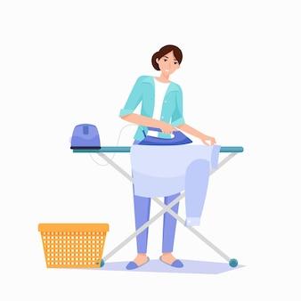 女性はアイロン台でシャツにアイロンをかけます。蒸気発生器。フラットスタイルのベクトル図