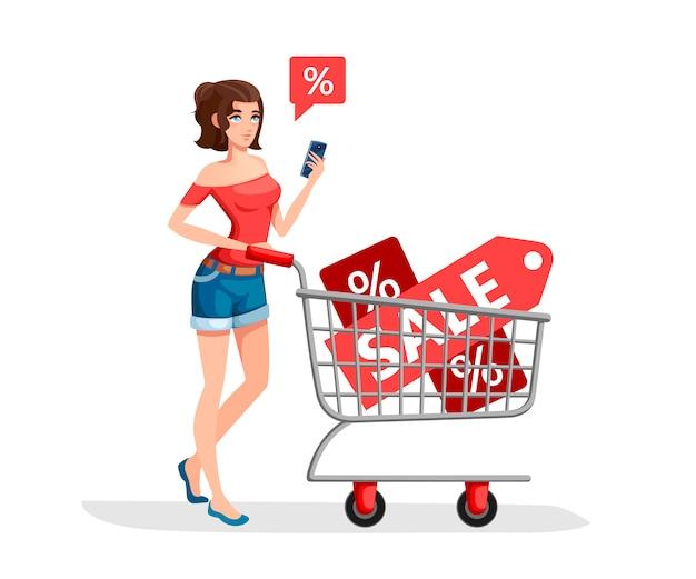 女性はセールのバナーと食料品のカートを運んでいます。スマートフォンで赤いシャツの女の子。漫画のキャラクター 。白い背景の上の図