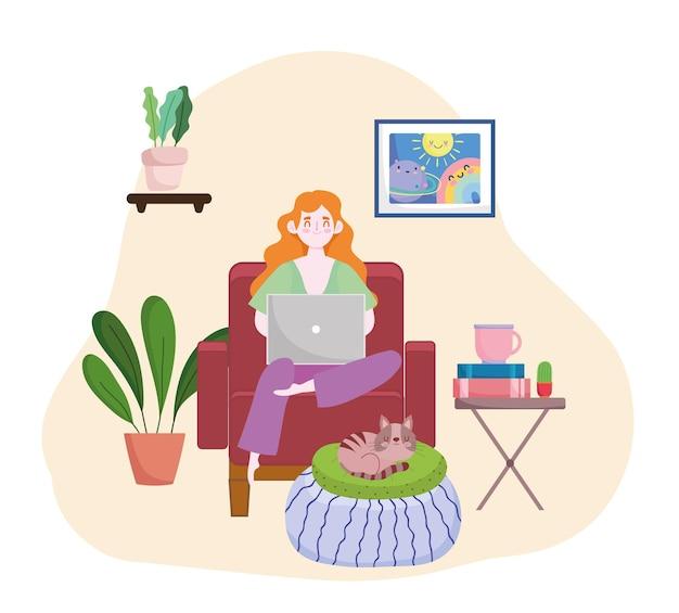 女性はラップトップの座っている椅子のホームオフィスホームオフィスのイラストで宿題をしています