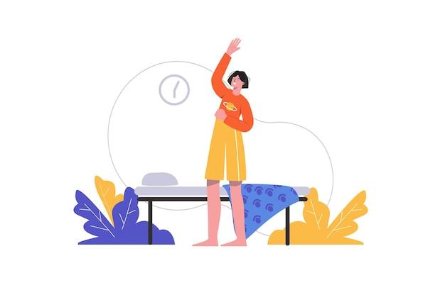 여자는 침실에서 아침 운동을 하고 있다. 워밍업과 스트레칭을 하는 어린 소녀, 사람들이 고립된 장면. 건강한 생활 방식, 가정 운동 개념입니다. 평면 최소한의 디자인의 벡터 일러스트 레이 션
