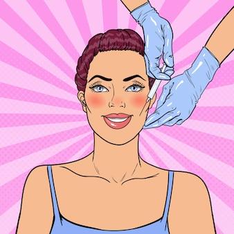 女性は美容フェイシャル注射を受けています