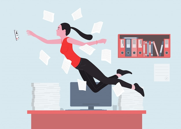 A woman is a good office worker or office worker reaching for the ringing phone.