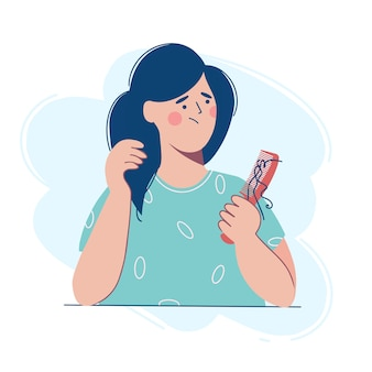 A woman is holding a comb with a lock of hair, she is upset because of hair loss.  illustration in the flat design style.