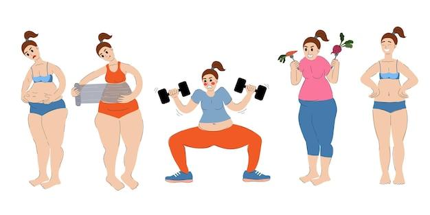 女性は体重が減っています女性はスパトリートメントをしている健康的な食べ物を食べるフィットネスに従事しています
