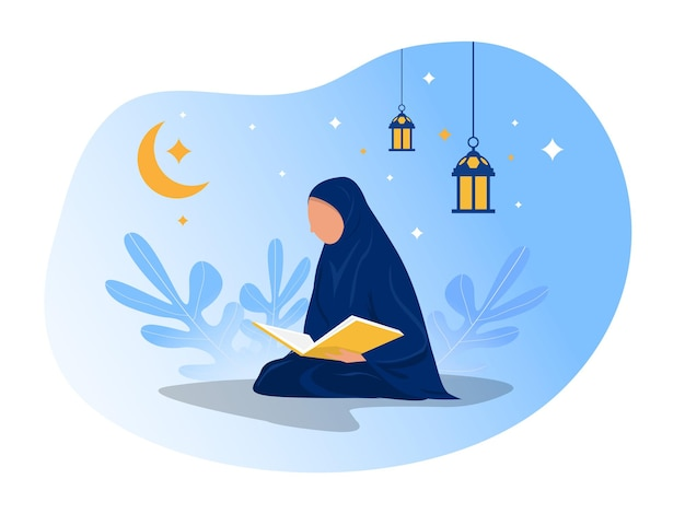 여자는 알 꾸란 일러스트 레이터를 읽고 있습니다.