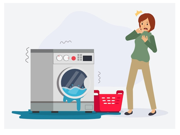 女性は洗濯機が壊れているために衝撃的です、洗濯機からの水が溢れ出て修理、修理する必要があります。フラットベクトル漫画のキャラクターイラスト